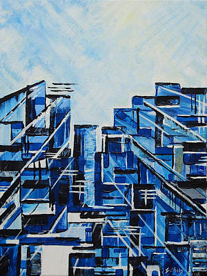 Glass Block Windows Painting - Urban In Blue by Emma Childs