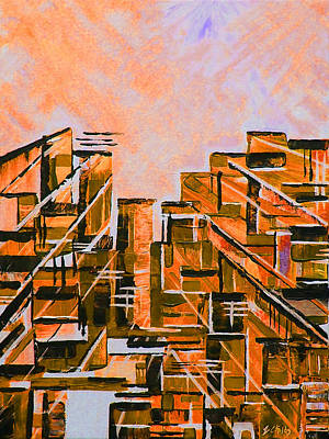 Glass Block Windows Painting - Urban In Orange by Emma Childs