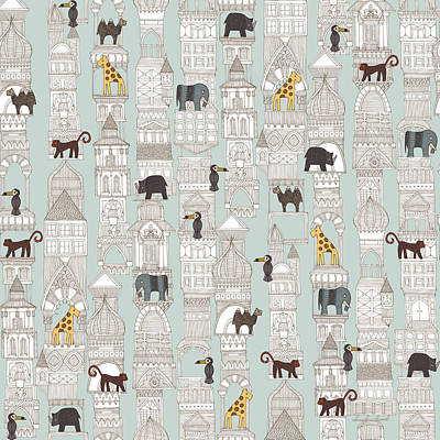 Pattern Drawing - Urban Jungle Silver by Sharon Turner