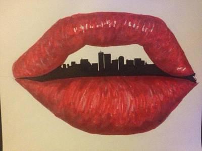 Philadelphia Street Drawing - Urban Lips by Brad Leach