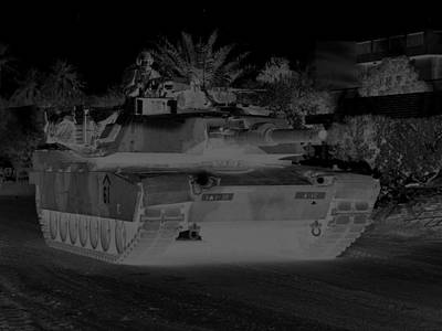 Urban Night Patrol Black And White M1 Abrams Tank Art Print