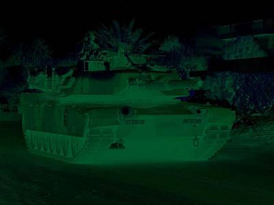 Urban Night Patrol M1 Abrams Tank Art Print