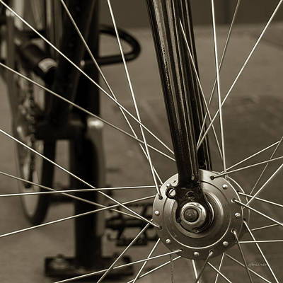 Art Print featuring the photograph Urban Spokes In Sepia by Steven Milner