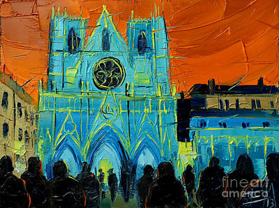 Streets Of France Painting - Urban Story - The Festival Of Lights In Lyon by Mona Edulesco