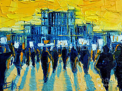 Architecture Painting - Urban Story - The Romanian Revolution by Mona Edulesco