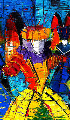 Carnaval Painting - Urban Story The Venice Carnival 2 Painting Detail by Mona Edulesco