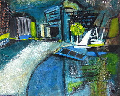 Development Mixed Media - Urban Water Front Abstract  by Betty Pieper