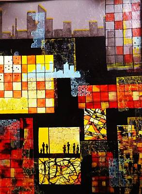 Representative Abstract Mixed Media - Urbania by David Raderstorf