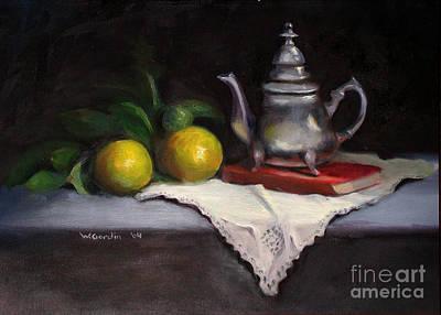 Silver Tea Pot Painting - Uri's Pot by Wendy Gordin