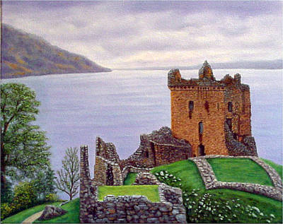 Art Print featuring the painting Urquhart Castle Loch Ness Scotland by Fran Brooks