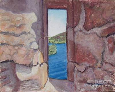 Pastel - Archers' Window Urquhart Ruins Loch Ness by Laurie Morgan