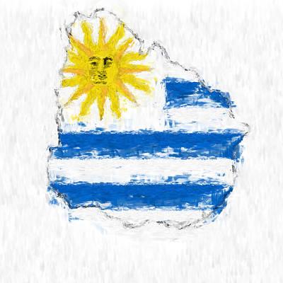 Uruguay Painted Flag Map Art Print by Antony McAulay