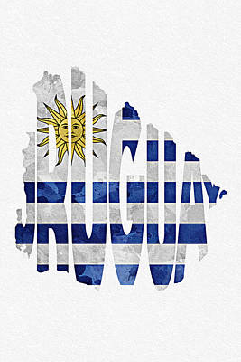 Abstract Map Mixed Media - Uruguay Typographic Map Flag by Ayse Deniz