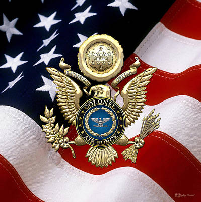 Digital Art - Us Air Force Colonel - Col Rank Insignia Over Gold Great Seal Eagle And Flag by Serge Averbukh