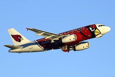 Us Airways Airbus A319-132 N837aw Arizona Cardinals Phoenix Sky Harbor December 24 2014  Art Print by Brian Lockett