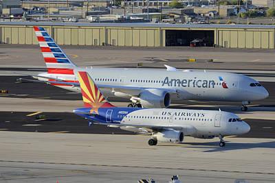 American Airways Photograph - Us Airways Airbus A319 N826aw Arizona American Boeing 787 N801ac Phoenix Sky Harbor March 10 2015 by Brian Lockett