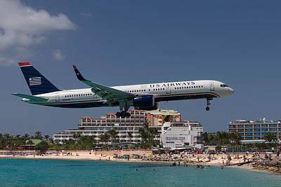 U S Airways At St Maarten Art Print by David Gleeson
