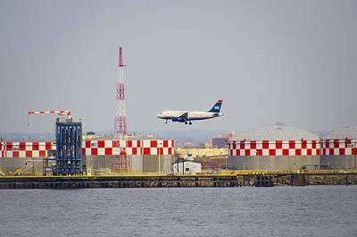 Airways Digital Art - Us Airways Landing Over Refinery by Bill Cannon