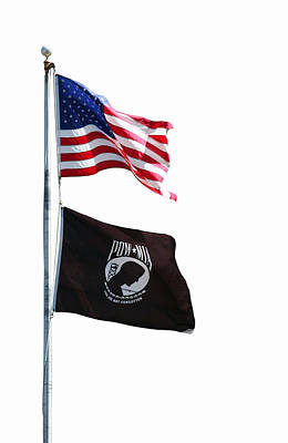 Photograph - Us And Pow Mia Flags by John Orsbun