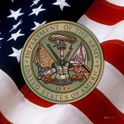 Patriotic Bronze Digital Art - U. S. Army Bronze Seal Over American Flag. by Serge Averbukh