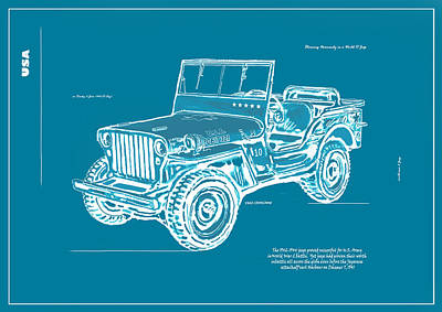 Jeep Drawing - Us Army Jeep In World War 2 Art Sketch Poster-2 by Kim Wang