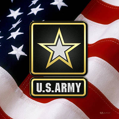 U. S. Army Logo Over American Flag. Art Print