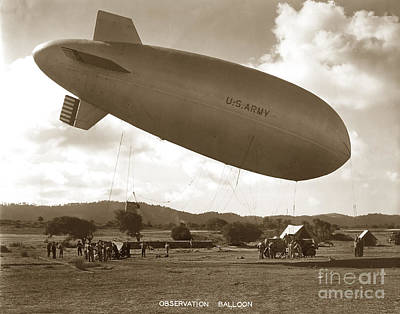 Photograph - U. S. Army Observation Balloons Camp Ord 1930 by California Views Archives Mr Pat Hathaway Archives