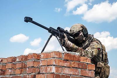 Photograph - U.s. Army Ranger Sniper With Huge Rifle by Oleg Zabielin