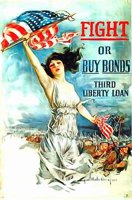 Fight Or Buy Bonds Art Print by US Army WW I Recruiting Poster