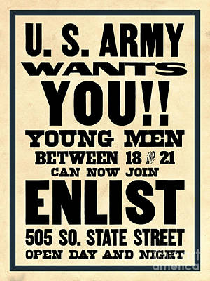 Recruiting Digital Art - U.s. Army Wants You by God and Country Prints
