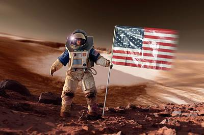 First Star Photograph - Us Astronaut On Mars by Detlev Van Ravenswaay