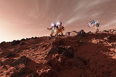 First Star Photograph - Us Astronauts On Mars by Detlev Van Ravenswaay