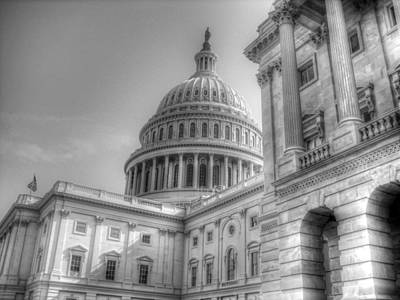 Photograph - U.s. Capitol Building In Black And White by Greg and Chrystal Mimbs