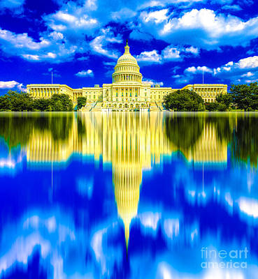 Capitol Building Digital Art - Us Capitol Building Reflection 05 by Algirdas Lukas