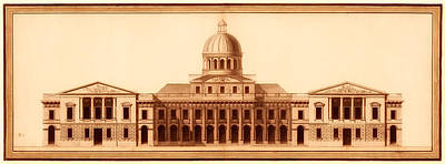 Capitol Drawing - U.s. Capitol Design 1791 by Mountain Dreams