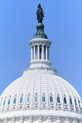 Historic Site Photograph - U.s. Capitol Dome And Statue Of Freedom by Panoramic Images