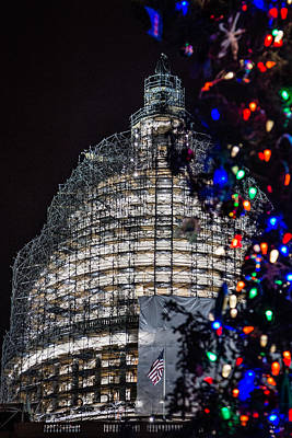Photograph - Us Capitol Dome At Christmas by Karen Saunders