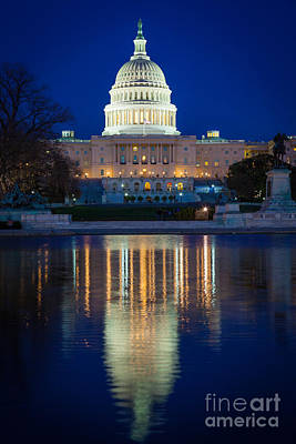 Federal Government Photograph - Us Capitol Reflections by Inge Johnsson