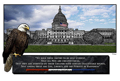 Us Capitol With Eagle Art Print by Rose Borisow