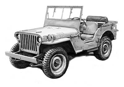 Jeep Drawing - Us Classical Jeep Car In World 2 Drawing Art Poster by Kim Wang