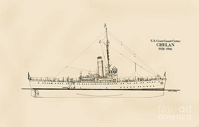 Uscg Drawing - U. S. Coast Guard Cutter Chelan by Jerry McElroy - Public Domain Image