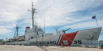 Coast Guard Photograph - Us Coast Guard Cutter Ingham Whec-35 - Key West - Florida - Panoramic by Ian Monk