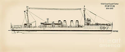 U.s. Coast Guard Drawing - U. S. Coast Guard Cutter Porter by Jerry McElroy - Public Domain Image