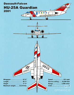 Coast Guard Drawing - Coast Guard Dassault-falcon by Jerry McElroy - Public Domain Image