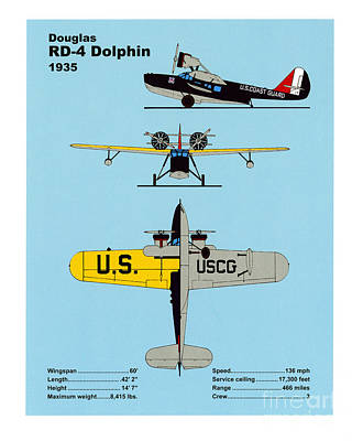 Transportation Drawings - Coast Guard Douglas RD-4 Dolphin by Jerry McElroy