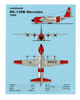 Coast Guard Drawing - Coast Guard Hc-130 B Hercules by Jerry McElroy - Public Domain Image