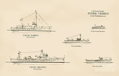Uscg Drawing - U. S. Coast Guard Patrol Boats Of The Prohibition Era by Jerry McElroy - Public Domain Image