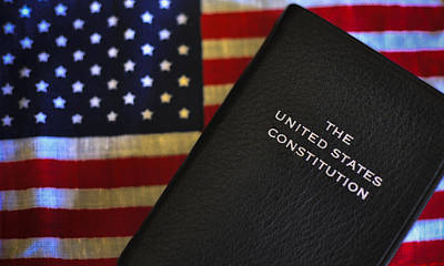 United States Constitution And Flag Art Print