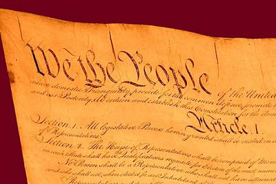 Us Constitution Closeup Violet Red Bacjground Art Print by L Brown