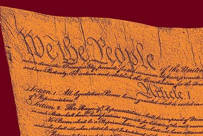 Us Constitution Closeup Sculpture Violet Red Background Art Print by L Brown